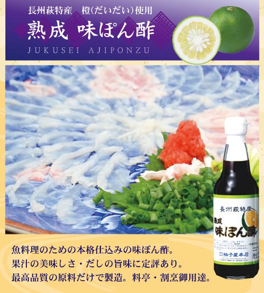熟成味ぽん酢/魚料理のための本格橙味付けぽん酢です。
