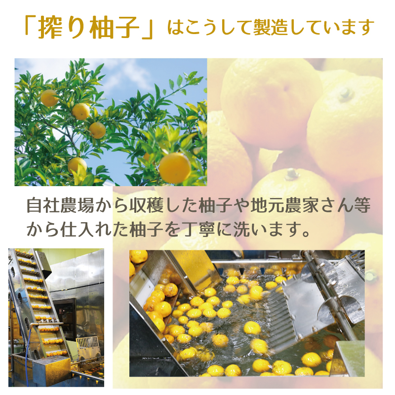 搾り柚子はこうして作られます-自社農場から収穫した柚子や地元農家さん等から仕入れた柚子を丁寧に洗います。