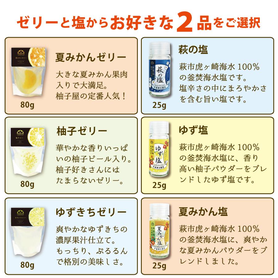 ゼリーシリーズと塩シリーズから2品選べる